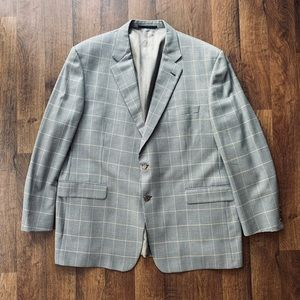 Burberry Grey & Gold Houndstooth Windowpane Blazer